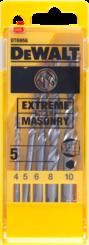 Vrtáky DT6956-QZ do zdiva EXTREME, 5ks v plastové kazetě