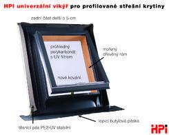 HPI univerz. vikýř pro profil. střešní krytiny 445x545mm (venk.rzm.50x60) AL matná cč RAL 3016