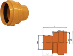 Dyka KGUS přechod na PVC z kameniny DN 100 oranž.
