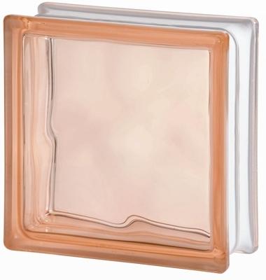 Skleněná cihla 1919-8WPK Wave Pink s vlnkou transparent