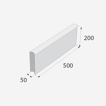 Zahradní obrubník PRESBETON ABO 4-20 černý hladký 500 x 50 x 200