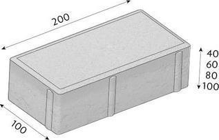 Betonová dlažba CS-BETON Cihla tl.8 cm červená 20x10 cm