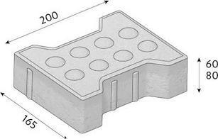 Betonová zámková dlažba CS-BETON KOST pro nevidomé tl.8cm červená 20x16,5 cm