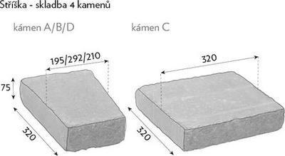 CS-BETON Naturblok stříška kámen 7,5 cm basanita