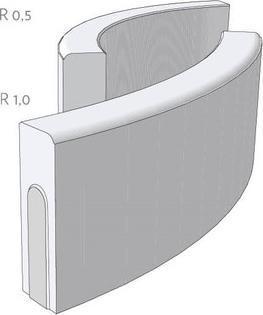Obrubník CSBETON T 8/25/78 R 0,5 vnější šedý