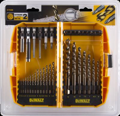 Sada vrtáků DT7938B-QZ do kovu EXTREME2 36 dílná HSS-G 1-12mm včetně nástavců Dewalt