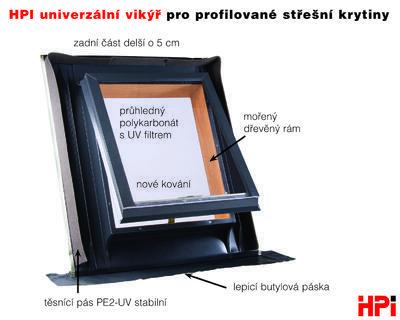 HPI univerzální vikýř pro profilované střešní krytiny 545x545 mm AL matná hnědá