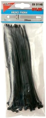 Pásky vázací 200 x 3,6 mm černá 50 ks