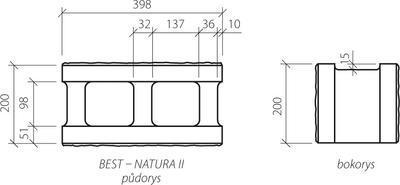 Zdicí tvarovka Best NATURA II 20 cm 40 x 20 cm přírodní protistranně štípaná