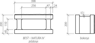 Zdicí tvarovka Best NATURA IV 20 cm 40 x 20 cm přírodní jednostranně štípaná