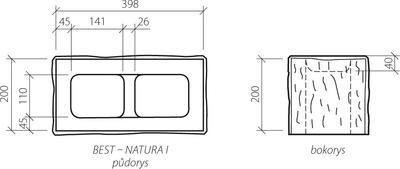 Zdicí tvarovka Best NATURA I 20 cm 40 x 20 cm přírodní čtyřstranně štípaná
