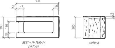 Zdicí tvarovka Best NATURA V rohová štípaná 40x20x20 žlutá
