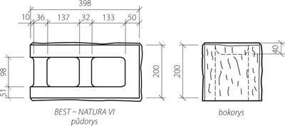 Zdicí tvarovka Best NATURA VI koncová štípaná 40x20x20 žlutá