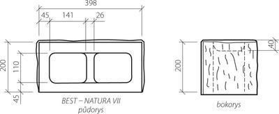 Zdicí tvarovka Best NATURA VII sloupová štípaná 40x20x20 žlutá