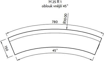 Silniční obrubník CSBETON H oblouk r 05 vnější šedý