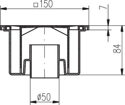 Podlahová vpusť PV DN 50/84 B bílá/spodní (503) - 2
