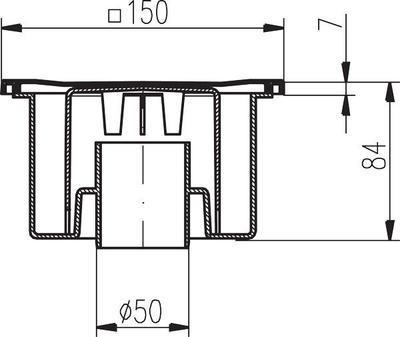 Podlahová vpusť PV DN 50/84 N nerez/spodní (504) - 2